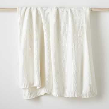 """Cotton Knit Throw, White, 50""""x60"""" - West Elm"""