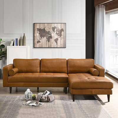 "Matilda 101"" Wide Genuine Leather Sofa & Chaise - Right Hand Facing - Wayfair"