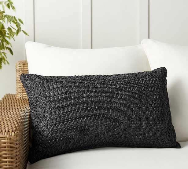 """Faux Natural Fiber Honeycomb Indoor/Outdoor Lumbar Pillow, 16 x 26"""", Black - Pottery Barn"""