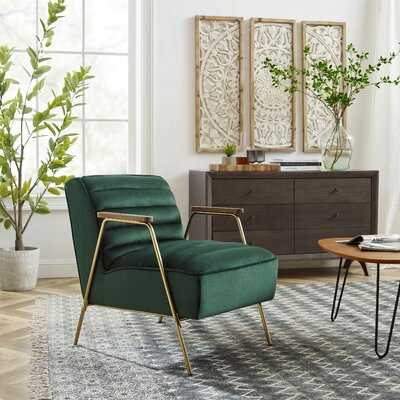 Mid Century Modern Small Velvet Ribbed Seat Accent Armchair With Gold Frame - Wayfair