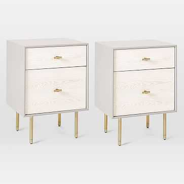 Modernist Wood + Lacquer Nightstand, Winter Wood, Set of 2 - West Elm