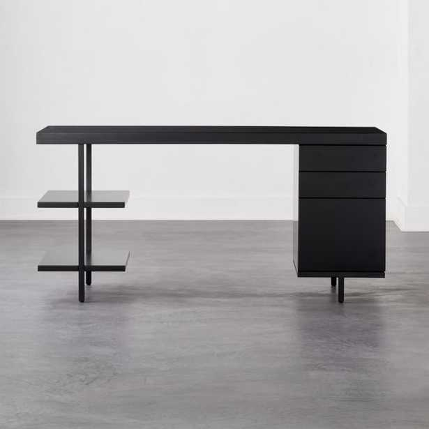 Stairway Modular Desk with Shelves and Drawers Black - CB2