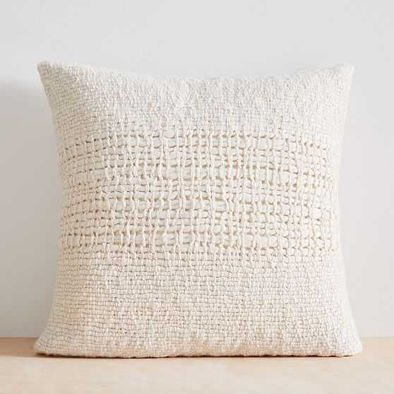 """Cozy Weave Pillow Cover, 24""""x24"""", Stone White - West Elm"""