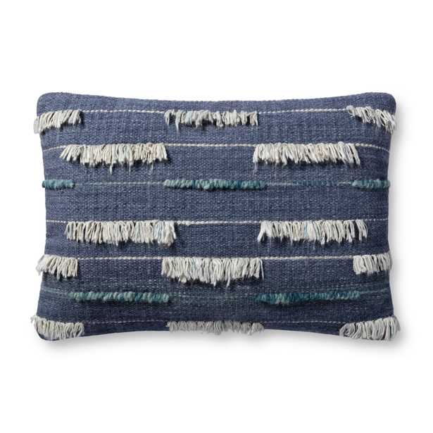 """PILLOWS P4136 INDIGO / IVORY 16"""" x 26"""" Cover w/Down - ED Ellen DeGeneres Crafted by Loloi Rugs"""