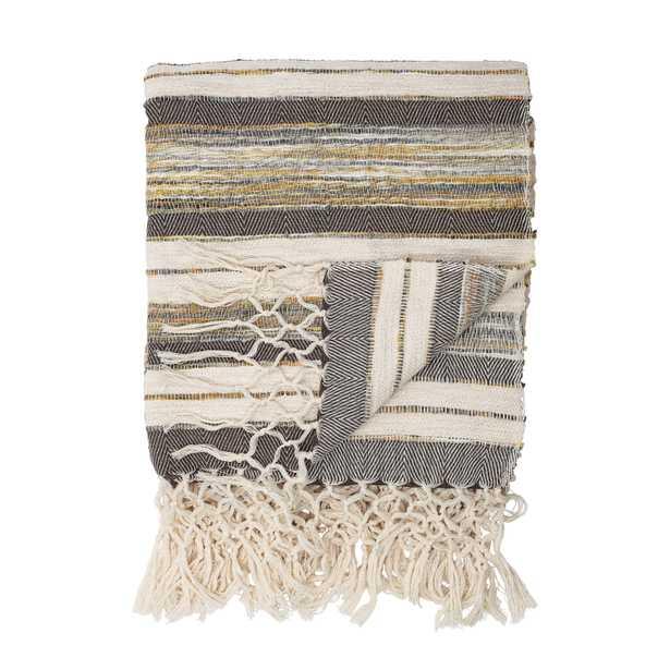 Handwoven Cotton Throw with Decorative Fringe, Gray, White & Yellow - Moss & Wilder