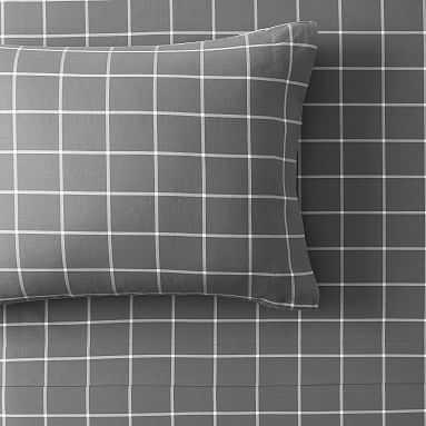Boxter Plaid Sheet Set, Full, Dark Charcoal/White - Pottery Barn Teen
