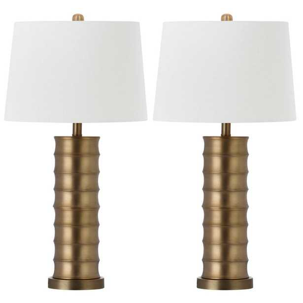 Safavieh Linues Brass Column 28.5 in. Gold Table Lamp with White Shade (Set of 2) - Home Depot