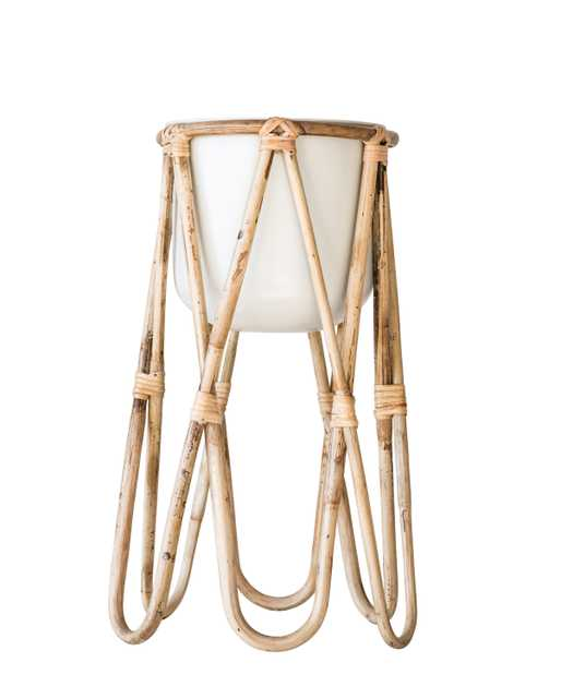 Metal Planter with Raised Bamboo Stand, Off-White - Moss & Wilder