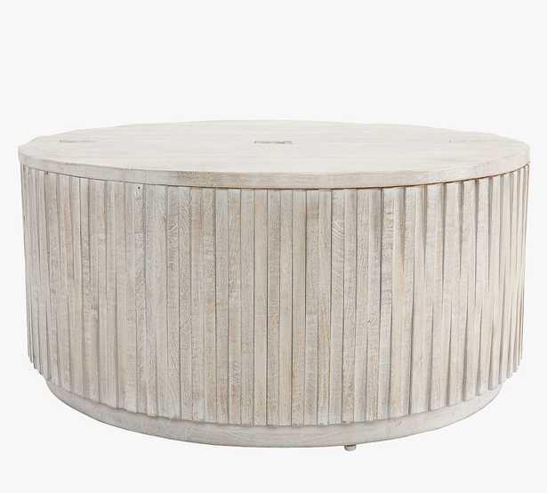 "Coloma 40"" Round Coffee Table, Light Gray - Pottery Barn"