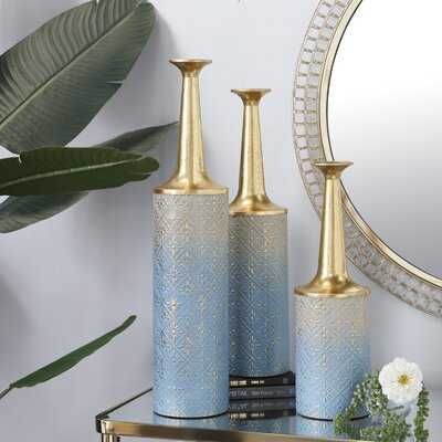 3 Piece Stoltenberg Blue/Gold Wood Floor Vase Set - Wayfair