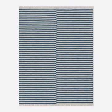 Staggered Stripe Rug, Blue Teal, 8'x10' - West Elm
