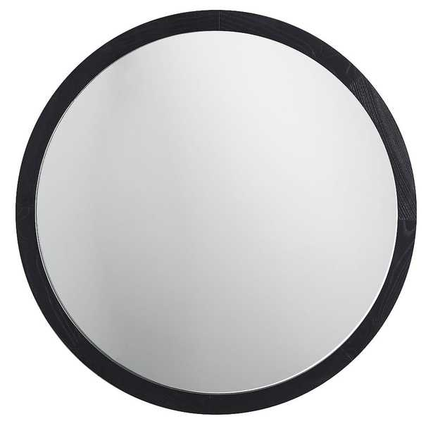 """Wood Framed Round Mirror, Charcoal, 30"""" - Pottery Barn Teen"""