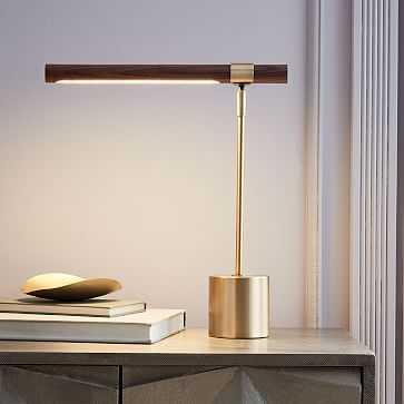 Linear Wood LED Table Lamp, Walnut - West Elm