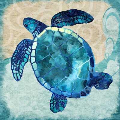 'Sea Turtle' Graphic Art Print on Canvas - Wayfair