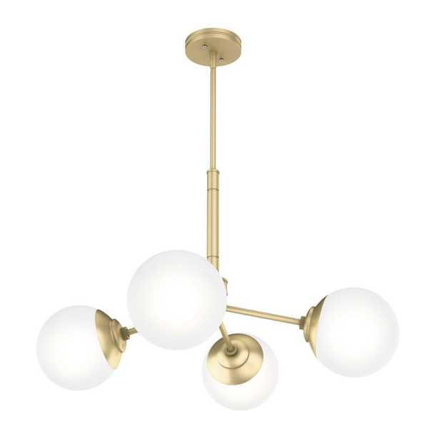 Hunter Hepburn 4-Light Modern Brass Chandelier - Home Depot