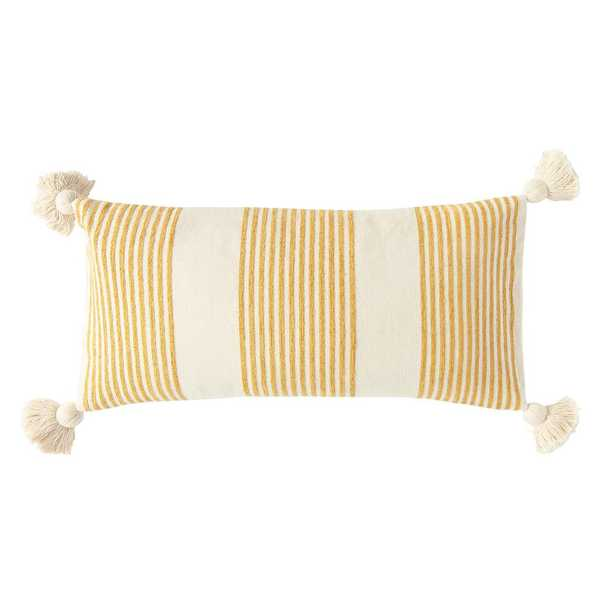 3R Studios Mustard Striped Cotton and Chenille 27 in. x 14 in. Throw Pillow, Yellow - Home Depot