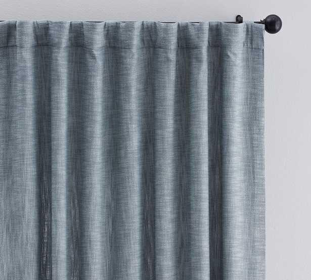 "Seaton Textured Cotton Rod Pocket Blackout Curtain, 50 x 84"", Chambray Blue - Pottery Barn"