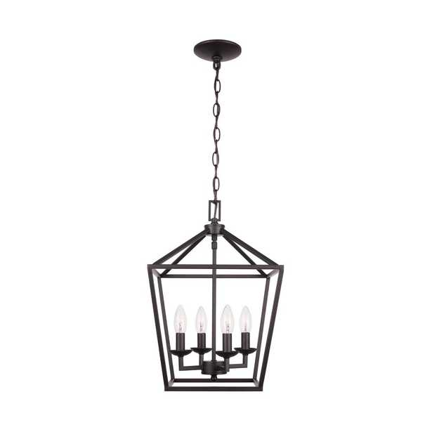 Home Decorators Collection 4- Light Bronze Caged Chandelier - Home Depot
