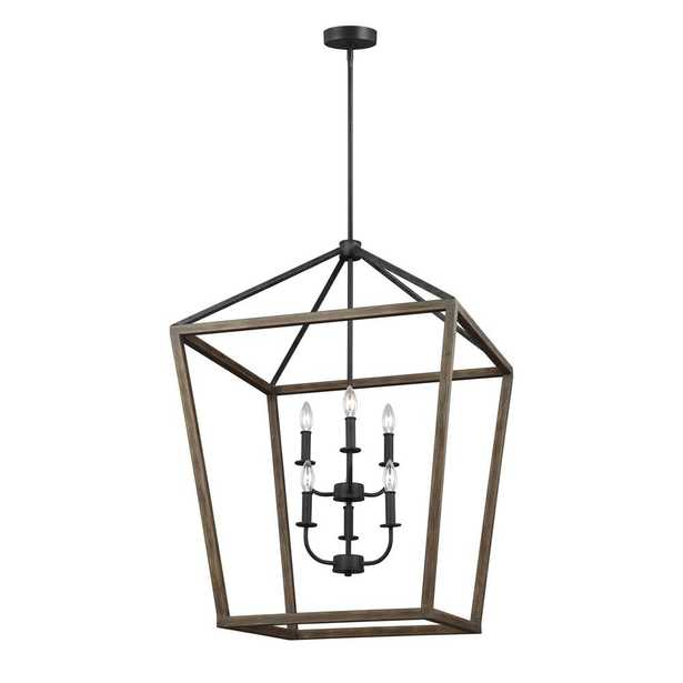 Feiss Gannet 6-Light Weathered Oak Wood and Antique Forged Iron Chandelier - Home Depot