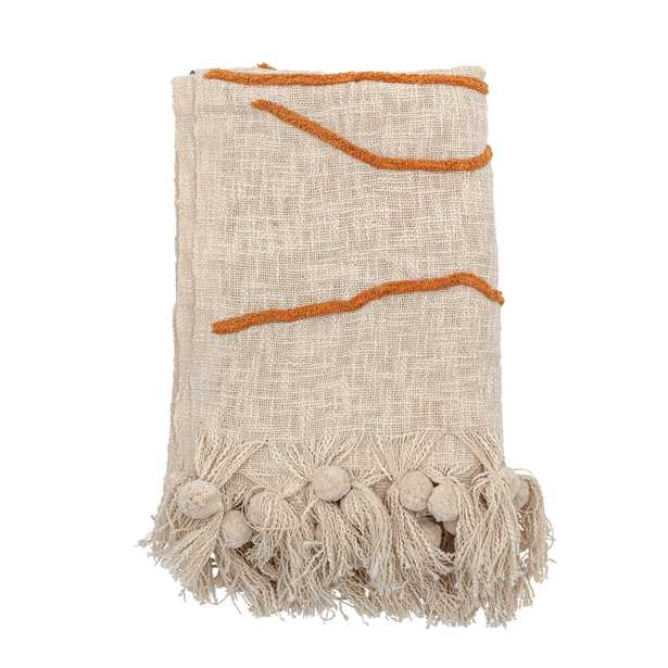 Cream Color Cotton Embroidered Throw Blanket with Tassels - Moss & Wilder