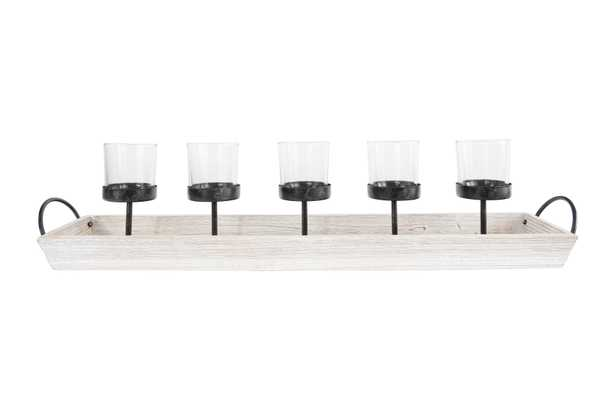 5 Metal Votive Candleholders in Rectangle Wood Tray with Handles - Nomad Home