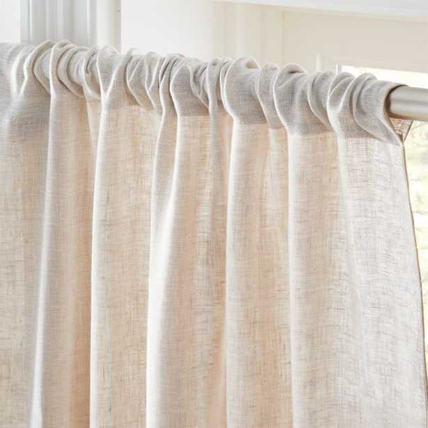 """Dos White and Natural Two-Tone Curtain Panel 48""""x108"""" - CB2"""