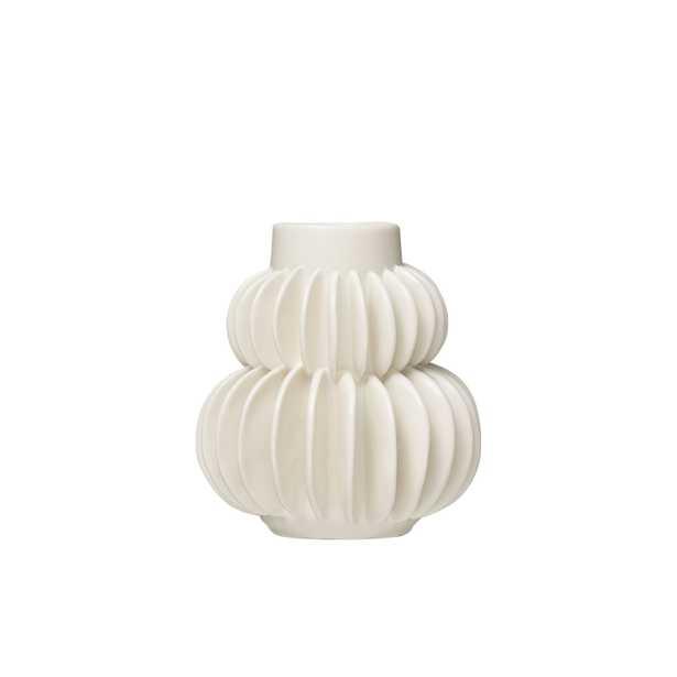 "Handmade 5""H Stoneware Vase with Half Circle Pleated Design - Moss & Wilder"