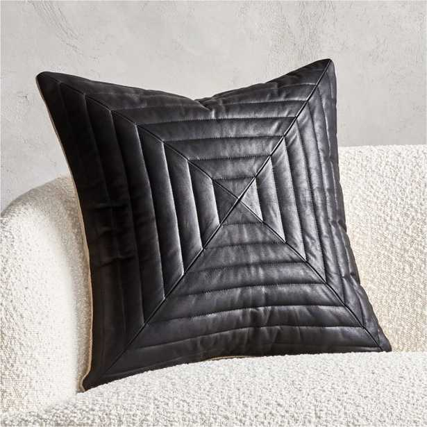 """20"""" Odette Black Leather Pillow with Down-Alternative Insert - CB2"""