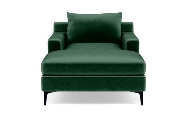 Sloan Chaise Chaise Lounge with Green Malachite Fabric, double down blend cushions, and Matte White legs - Interior Define