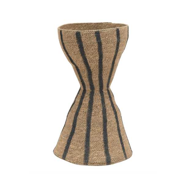 Hand-Woven Seagrass Hour Glass Shape Vase with Stripes, Natural & Black - Moss & Wilder