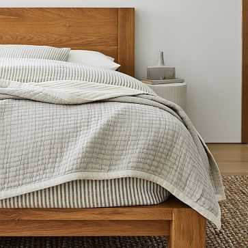 Organic Double Cloth Blanket, Full/Queen, Pearl Gray - West Elm