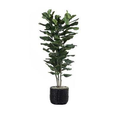 "78"" Artificial Fiddle Leaf Fig Tree in Planter - Wayfair"