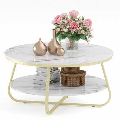 2 Tier Round Coffee Table Sofa Table Office Table End Table With Storage - Wayfair