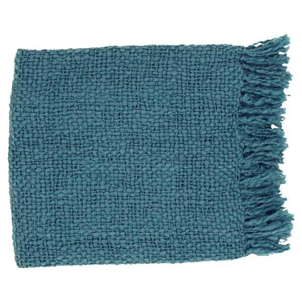 Lana Modern Classic Woven Dark Blue Wool Throw Blanket - Kathy Kuo Home