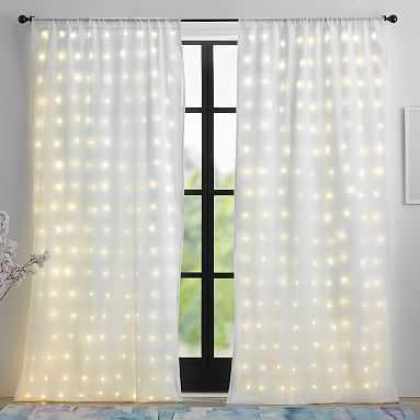 "Light Up Window Sheer Curtain, 84"", White - Pottery Barn Teen"