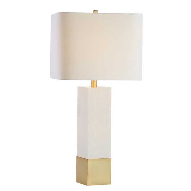 JONATHAN Y Jeffrey 29 in. Brass Gold/White Metal/Marble LED Table Lamp - Home Depot