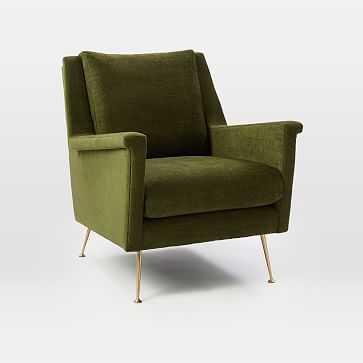 Carlo Midcentury Chair, Poly, Distressed Velvet, Tarragon, Brass - West Elm