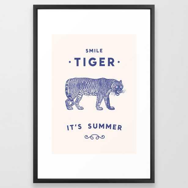 Smile Tiger, It's Summer Framed Art Print by Florent Bodart / Speakerine - Vector Black - LARGE (Gallery)-26x38 - Society6