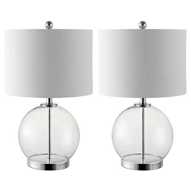 Safavieh Lonni 22.5 in. Clear/Chrome Table Lamp, Set of 2 - Home Depot