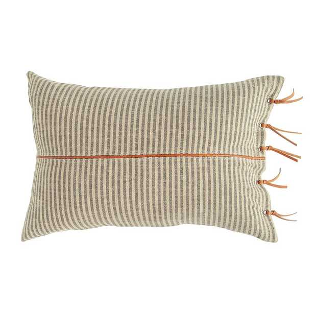 3R Studios Black & Beige Striped Cotton Ticking Lumbar with Leather Trim 24 in. x 16 in. Throw Pillow - Home Depot