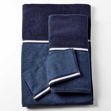 Two Toned Towel, Bath, Classic Navy - Pottery Barn Teen