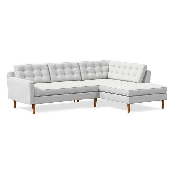 Drake Midcentury 2-Seat Left Arm 2-Piece Terminal Chaise Sectional, Performance Washed Canvas, Stone White, Pecan - West Elm