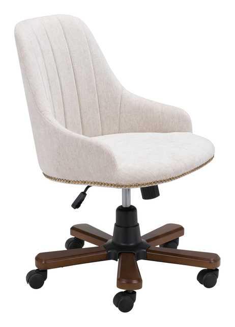 Gables Office Chair, White Poly Linen - Zuri Studios