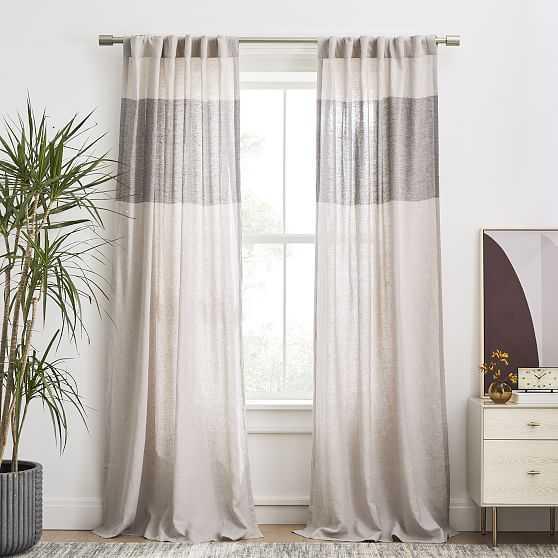 "European Flax Linen Contrast Stripe Curtain, Frost Gray/Slate, 48""x96"" - West Elm"