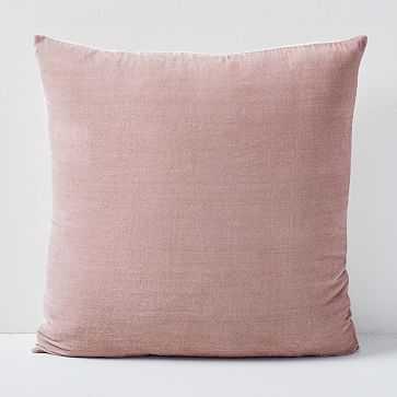 """Lush Velvet Pillow Cover, 20""""x20"""", Dusty Blush - West Elm"""