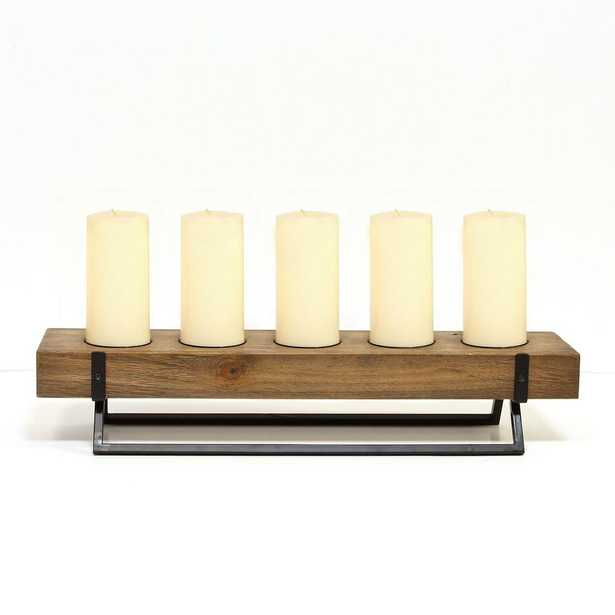 Stratton Home Decor Centerpiece Rustic 5-Candle Holder, Brown - Home Depot