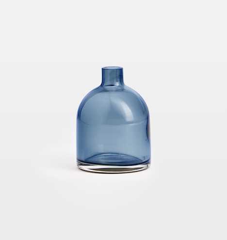 Audrey Blue Glass Bud Vase - Rejuvenation