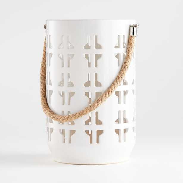 Calas Medium White Ceramic Lantern - Crate and Barrel