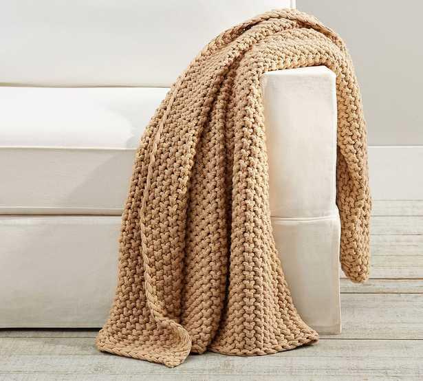 "Bayside Chunky Knit Throw, 44 x 56"", Khaki - Pottery Barn"