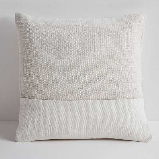 """Cotton Canvas Pillow Cover with Down Alternative Insert, Stone White, 18""""x18"""" - West Elm"""